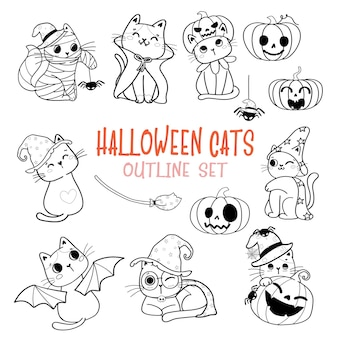Cute halloween cat cartoon outline doodle set vector for colouring book