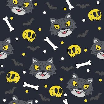 かわいいハロウィーンの猫のパターンのイラスト
