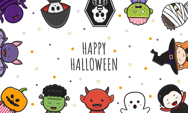 Cute halloween character background banner cartoon illustration flat cartoon style