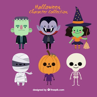 Cute halloween character set