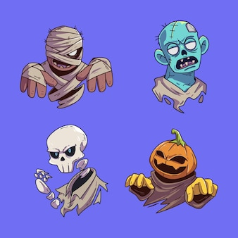 Cute halloween character sticker collection set