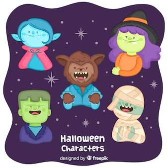 Cute halloween characters collection