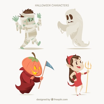 Cute halloween characters on a white background