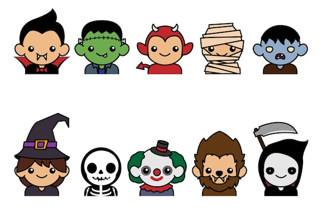 Cute halloween charactors collection