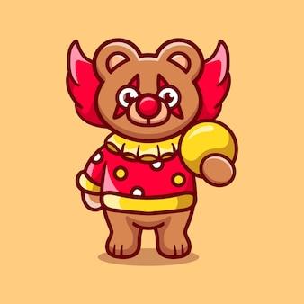 ボールを運ぶかわいいハロウィーンのピエロのクマ