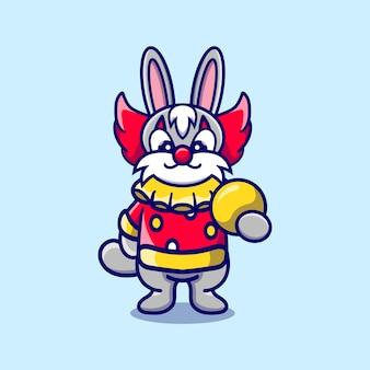 공을 들고 귀여운 할로윈 광대 토끼
