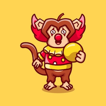공을 들고 귀여운 할로윈 광대 원숭이
