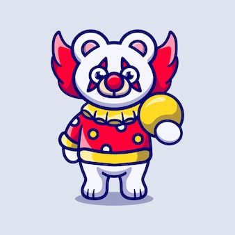 ボールを運ぶかわいいハロウィーンのピエロホッキョクグマ