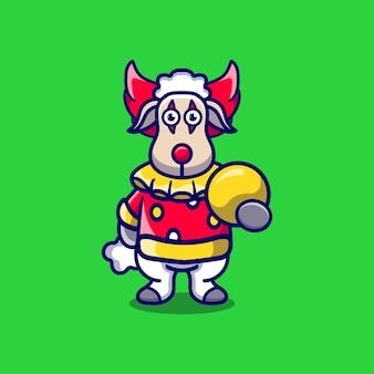 ボールを運ぶかわいいハロウィーンのピエロ羊