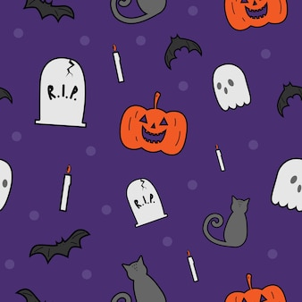 Cute halloween collection cartoon doodle seamless pattern