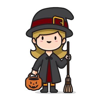 Симпатичный хеллоуин костюм ведьмы