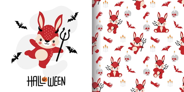 Cute halloween devil rabbit  cartoon doodle seamless pattern