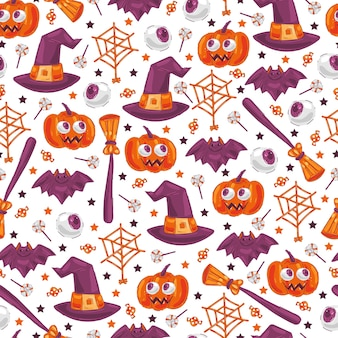 Cute halloween elements   seamless pattern on white background for wallpaper, wrapping, packing, .
