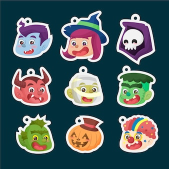 Cute halloween faces stickers keychains hand drawn flat cartoon collection