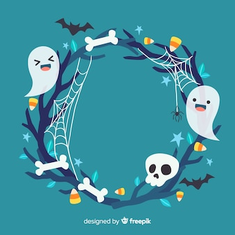Cute halloween frame with ghosts