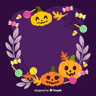 Cute halloween frame with pumpkins
