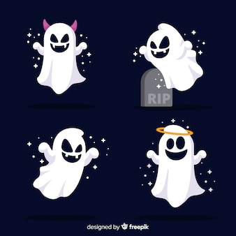 Cute halloween ghost collection with flat design