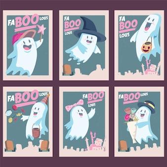 귀여운 할로윈 유령 인사말 카드. 격리 된 작품 개체입니다. 모든 인쇄 매체에 적합합니다.