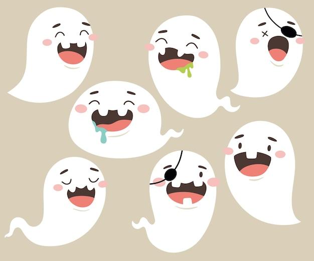 Cute halloween ghost set in cartoon style vector isolates
