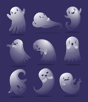 Cute halloween ghost set in different poses. white flying spooky ghost silhouette isolated