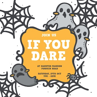 Cute halloween ghost and spider web invitation design