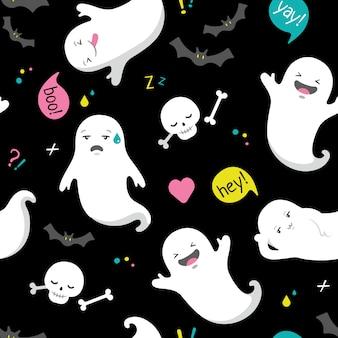Cute halloween ghost vector seamless pattern