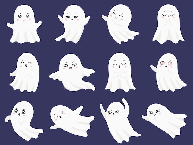 Cute halloween ghosts set