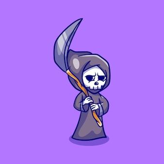 鎌を持ったかわいいハロウィーンの死神