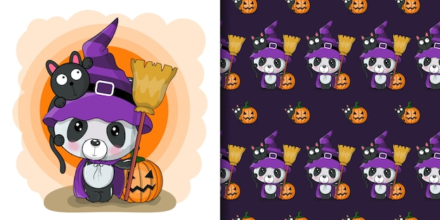 Cute halloween illustration of cartoon panda with pumpkin, seamless pattern