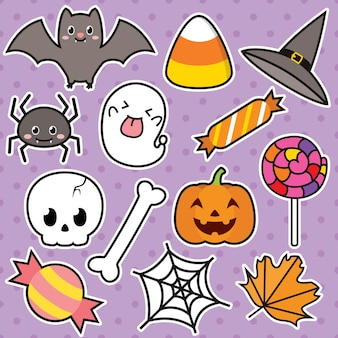 Cute halloween illustration character set