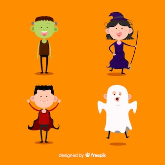 Cute halloween kids character collection
