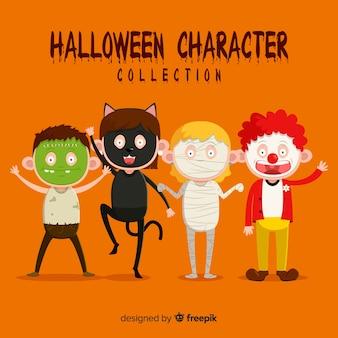 Cute halloween kids character set