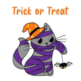Cute halloween kitten cat in mummy costume trick or treat with spider, doodle flat vector illustration idea for greeting card, kid tshirt