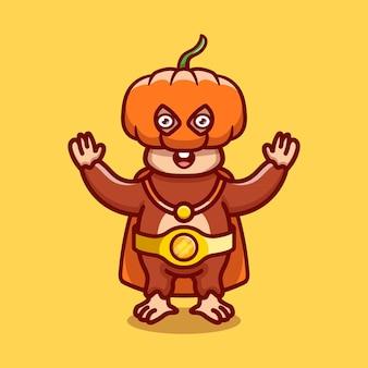 귀여운 할로윈 원숭이 호박 슈퍼 히어로 그림
