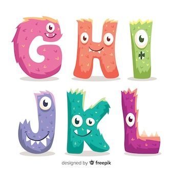 Cute halloween monster alphabet