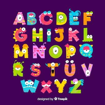 귀여운 할로윈 괴물 알파벳