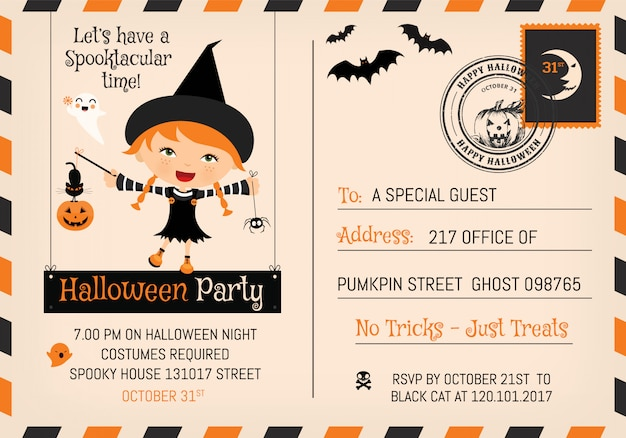 Cute halloween party invitation postcard