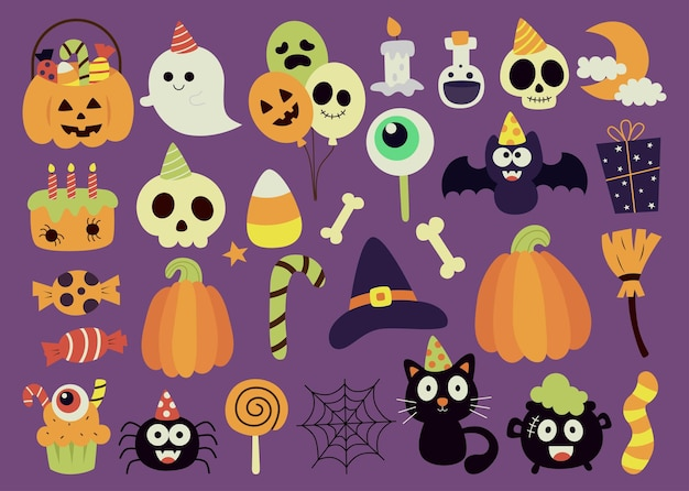 Cute halloween party on purple background