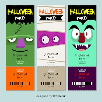 Cute halloween party tickets collection
