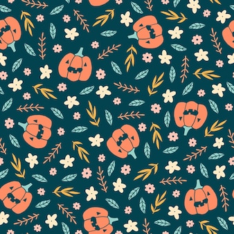 Cute halloween pattern with pumpkins and flowers seamless pattern
