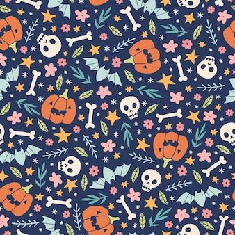 Cute halloween pattern with pumpkins skulls and flowers hand drawn illustration Premium Vector