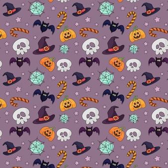 Cute halloween pattern with skull and hats