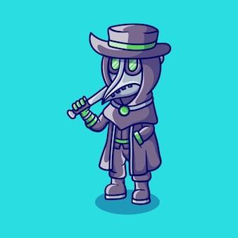 Cute halloween plague doctor carrying a baseball bat