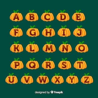 Cute halloween pumpkin alphabet