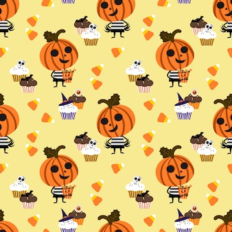 Cute halloween pumpkin and candy seamless pattern