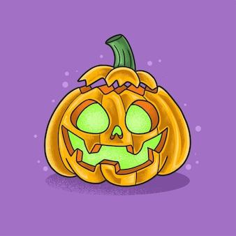Cute halloween pumpkin illustration grunge style