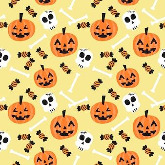 Cute halloween pumpkin and skull seamless pattern.