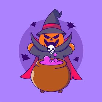 大釜で呪文を作るかわいいハロウィーンのカボチャの魔女