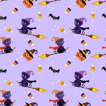 黒猫のシームレスなパターンでかわいいハロウィーンのカボチャ。