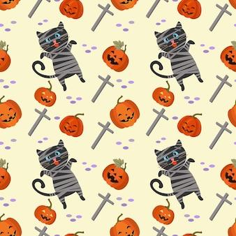 Cute halloween pumpkin with mummy black cat seamless pattern.
